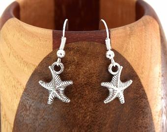 Tibetan silver sea star, silver Starfish clip earrings