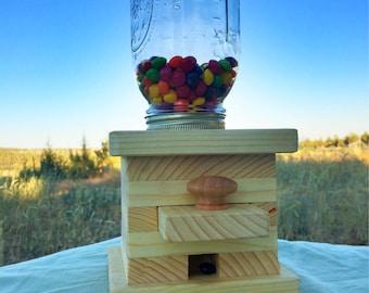 Handmade, wood candy dispenser.