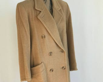 VTG 1980s Camel Wool Coat/ Floor Length/ Double Breasted/ Pockets/ Made in USA