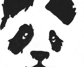 Panda Face on Canvas