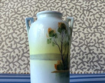 Small, Hand Painted Vase / Art Deco / Made in Japan / Lake Scene