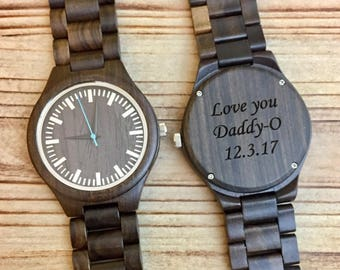 Engraved Wood Watch, Husband Gift, Mens Wooden Watch, Wood Watches for Men, Gifts for Him, Boyfriend Gift, Gifts for Dad, Father's Day Gift