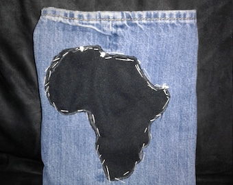 Jean purses with picture of Africa sewn on front