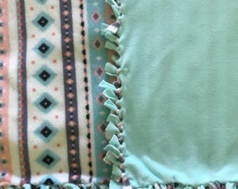 No sew fleece blanket tiffany blue pink and charcoal grey