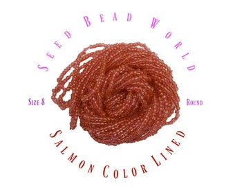 Salmon Color Lined Seed Beads size 8/0
