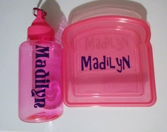 Personalized water bottle and sandwich container