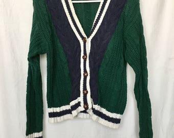 Vintage 80s Global Casual Green Cardigan Sweater