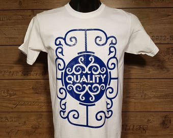 White T-shirt with blue carbon finish. (FREE WORLDWIDE SHIPPING)
