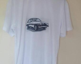 Classic car Ford Fiesta Mk1 XR2 white T-shirt medium or large
