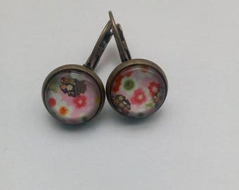 Earrings sleepers Japanese flower pattern