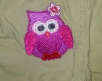 Pink owl baby shorts 9mo