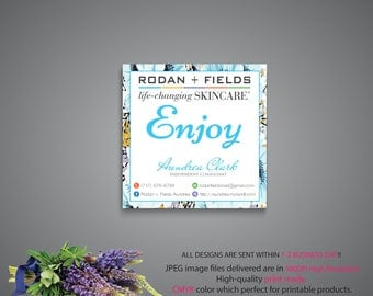 Rodan and Fields Square Label, Rodan and Fields Square Sticker, RF Marketing, R+F PERSONALIZED, Floral Card RF, Printable RF07