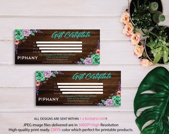 Piphany Gift Cards, Piphany Gift Certificate, Floral Flower Cards, Custom Piphany Marketing Card, Printable Card - Piphany PERSONALIZED TP06