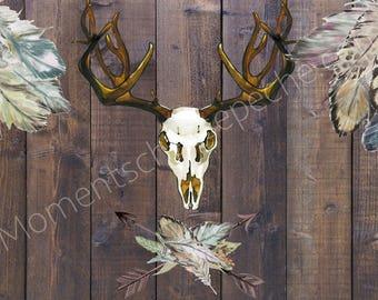 "Panel hunt ""Hunting trophies"" Huntress boho home decor office deer skull feathers"