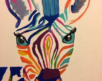 Colorful Zebra Canvas Painting