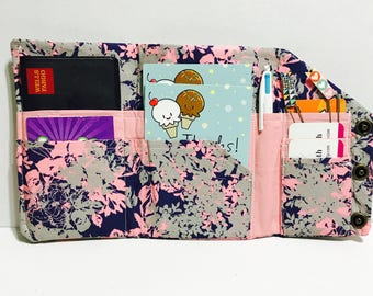 SALE - organizer wallet, Bill Organizer, Passport wallet, pink gray wallet