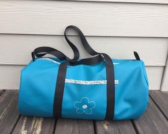 Blue imitation leather sport great duck or weekend duffel bag
