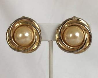 Love Knot Faux Pearl Earrings, Gold Tone, Clip On, Vintage, 1970's