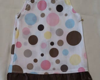 American Girl Doll Clothes, White and Brown Polka Dot Dress