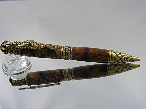 Handcrafted Ornate Dragon Pen in Antique Brass and Acrylic with Maple Burl