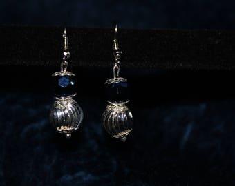 Silver Twirl Blue Earrings