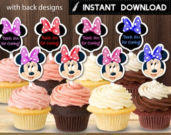 Instant Download - Minnie Mouse Cupcake Toppers First 1st Birthday Baby Shower Party Polka Dots Ribbon  Printable DIY - Digital File