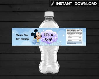 Instant Download - Baby Mickey Mouse Baby Shower Water Bottle Label It's a Boy Blue Bokeh Clouds and Stars Printable DIY - Digital File
