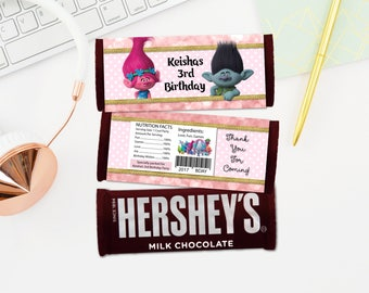 Personalized Trolls Hersheys Chocolate Candy Bar Wrapper Birthday Party Printable - Digital File