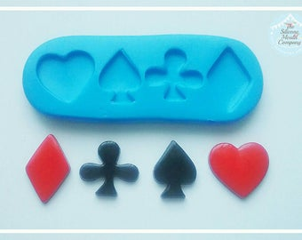 Card suits mould - poker - alice inspired - diamond, hearts, clubs, spades - Design by TheSiliconeMouldCompany.