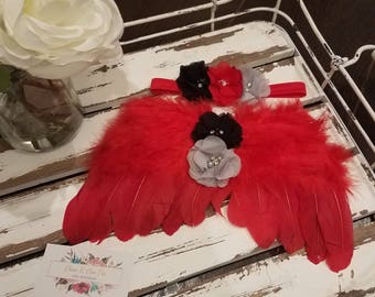 SALE!!! Red, Black and Gray, Newborn Angel Wings & Headband, Feather Wings, Photo Prop - SALE 40% OFF