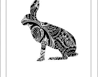 Hare Rabbit Papercut Template Rabbits Hare - Svg Paper Cut Templates Stencil Line Art Henna Mandala Pdf Cut Files Digital Clip Art Drawing