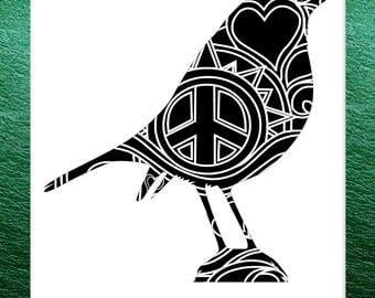 Robin Bird Papercut Template Mandala Henna - Svg Paper Cut Templates Stencil Line Art Pdf Cut Files Digital Clip Art Drawing