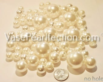 No Hole 80 All Ivory/Champagne Pearls in Jumbo & Assorted sizes for Floating Vase Centerpieces and Tablescapes