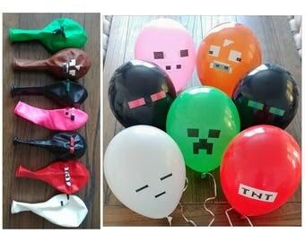 7pc. Minecraft Pixeled Birthday Balloons ~ Birthday Party Supplies