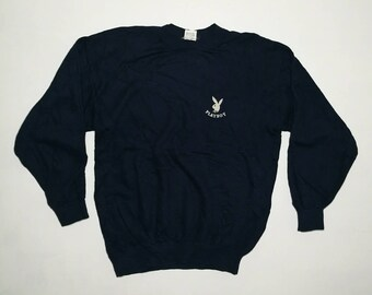 Rare!! Vintage Playboy Suede Logo Pullover Sweater US M / EU 48-50 / 2