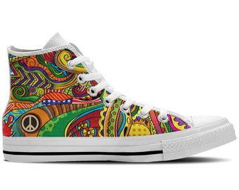 Men's High Top Sneaker with Colorful Print, Peace Symbol and White Soles 'Peace of Color' - Multicolored/White