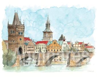 Prague Charles Bridge Czech / art print from an original watercolor painting