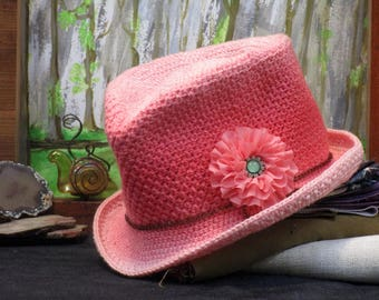 Coral Western Style Top Hat