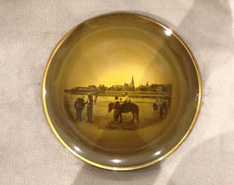 Antique Scottish themed Ridgway plate featuring Saltcoats Beach.  Late 1800s.