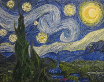 """14""""x18"""" Study of Vincent van Gogh's Starry Night - Wall art, decor, glow in the dark oil painting"""