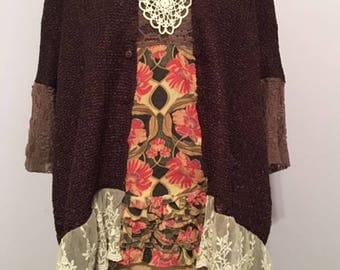 Plus size tunic upcycled repurposed preloved boho gypsy eco lace