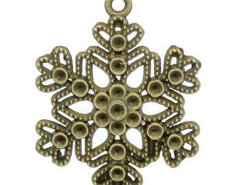 1 star 41x32mm bronze snowflake charm