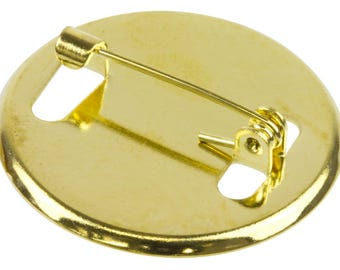 brooch finding complete round cabochon 25 mm with finely gold pin clasp