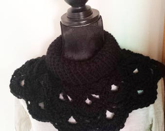 cowl neck warmer shoulder black crochet