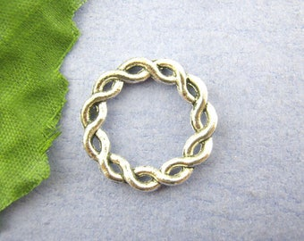 """set of 4 connector """"Braid"""" in silver 20 mm in diameter (11 holes)"""