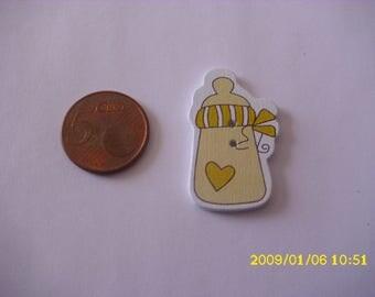 5 buttons wood 3.6X2.3cm yellow milk bottle (2 holes)