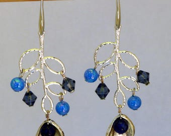 Earrings dangle Crystal Lapilazulis