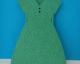 Green embossed with daisies + envelope card