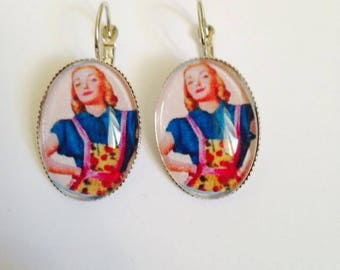 """Earring dangle earring Cabochon """"who's who decides?""""   """""""