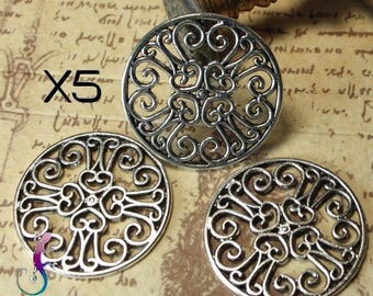 5 connectors medieval style antique silver metal